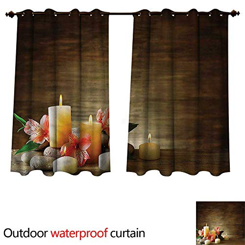 Pearl Unity Candle (cobeDecor Spa Outdoor Curtains for Patio Sheer Candles Wellbeing Unity W84 x L72(214cm x 183cm))