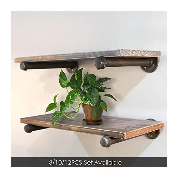 """Diwhy 20"""" Industrial Pipe Shelves,Wall Mounted Metal Pipe Wood Shelf, Rustic Wall Shelf with Towel Bar,Towel Racks for Bathroom,Rustic Pipe Ladder Bookshelf Bookcase,DIY Open Pipe Shelving(1 Tier) - 【Industrial Decor】:Rustic industrial pipe shelf in silver brushed gray finish.Iron pipes and reclaimed real wood composition in vintage style.Storage and decorations.It can also be used outdoors.Sturdy and decorative.Ertremely durable and long lasting. 【Size】:Made from quality metal pipe and pine wood.Board size: length 19.68in x depth 8.66in x thickness 1.18in.Water pipe diameter: 1.26in. 【Multi-functional】:The floating shelves are versatile, such as bathroom accessories, towel holder, bookcase, spice racks. - wall-shelves, living-room-furniture, living-room - 5117i9hUvtL. SS570  -"""