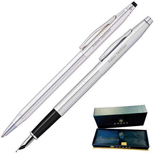 Medium Fountain Chrome Point - Dayspring Pens | Engraved/Personalized Cross Classic Ballpoint and Fountain Pen Set. - Chrome. Custom Engraved Pens!