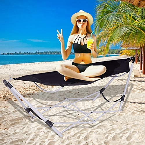 Giantex Portable Hammock with Stand-Folds, Lounge Camping Bed Folding with Carry Bag for Camping Outdoor Patio Yard Beach, 94.5 x 31.5 x 29 Black