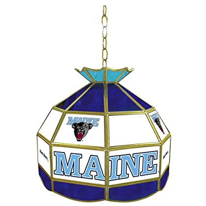 Image of Billiard Lighting NCAA Maine 16-Inch Stained Glass Tiffany Lamp