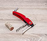 Vacu Vin Single Pull Corkscrew with Foil Cutter and Bottle Opener - Red