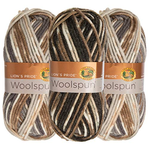 (Lion Brand (3 Pack) Woolspun Acrylic & Wool Soft Quarry Print White Gray Yarn for Knitting Crocheting Bulky #5)