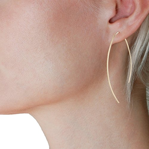 Humble Chic Upside Down Hoops - Hypoallergenic Lightweight Open Wire Needle Drop Dangle Threader Earrings, 24K Yellow, Gold-Electroplated by Humble Chic NY (Image #2)