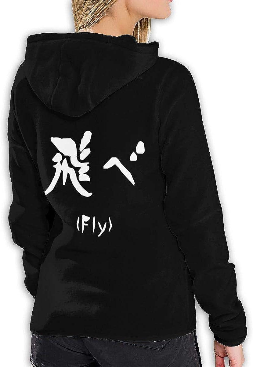 Vdaras Damen Kapuzen-Sweatshirt Haikyuu Logo Hoodies Schwarz