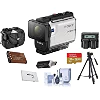 Sony HDR-AS300 Action Camera, with Balanced Optical SteadyShot,- Bundle With 32GB Micro SDHC U3 Card, Camera Case, Spare Battery, Tripod, Dual Cahrger, Cleaning Kit, Card Case, Card reader