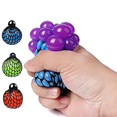 Fireboomoon Stress Relief Squeezing Soft Rubber Vent Grape Ball Hand Wrist Toy Funny Geek Gadget Vent Toy, Orange/Blue/Green, 3 Piece: Toys & Games
