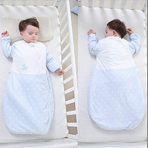 QJQBMAI Adjustable 100% Cotton Wearable Blanket | Machine Washable Baby Sleeping Bag | Blue Wrap Swaddle Blanket for Toddler (12-24 Month)