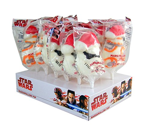 Star Wars Stormtrooper and BB-8 Christmas Marshmallow Pop Lollipop, 1.41 oz, Pack of 12 -