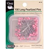 Dritz 100-Piece Long Pearlized Pins, 1-1/2-Inch, Pink