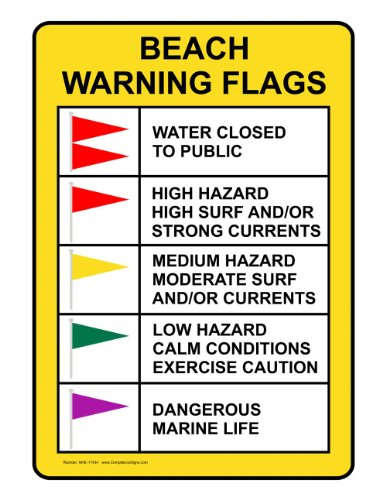 Water Safety Flags (ComplianceSigns Aluminum Water Safety Sign, 20 x 14 in. with English Text,)