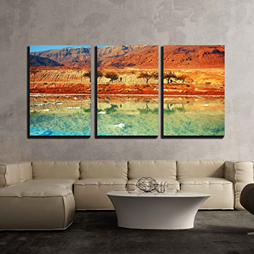 Sea Salt 3 Piece (wall26 - 3 Piece Canvas Wall Art - Dead Sea Salt Shore - Modern Home Decor Stretched and Framed Ready to Hang - 24