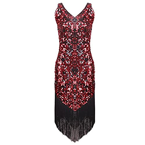 Vijiv Womens 1920s Gatsby Girl Costume Roaring 20s Fancy Fringed Flapper Dress , Medium, Red and Black