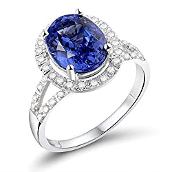 White Gold With Blue Tanzanite Diamond Ring
