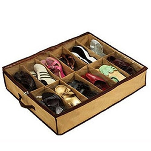 12 Fälle Schuhe Speicher Organizer Schuhe Halter Tasche Box Unter Bett Schrank Braun
