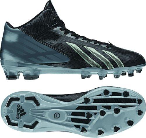 Adidas Men's Filthy Quick Mid Molded Football Cleats , Black|Black|Titanium, Size 12.5