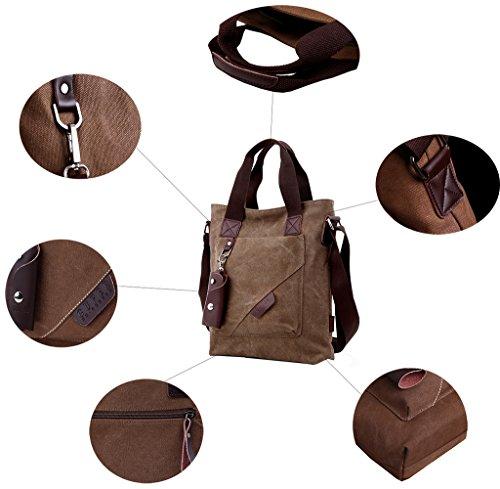 Super moderno vintage canvas Messenger Bag Bolsa de viaje de ocio bolsa de hombro Crossbody bolso, hombre, Armygreen negro