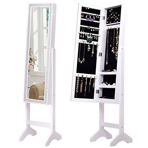 Giantex Mirrored Jewelry Cabinet Armoire with Mirror w/ Resin Diamond Design Standing Storage Organizer Box, White Design Armoire