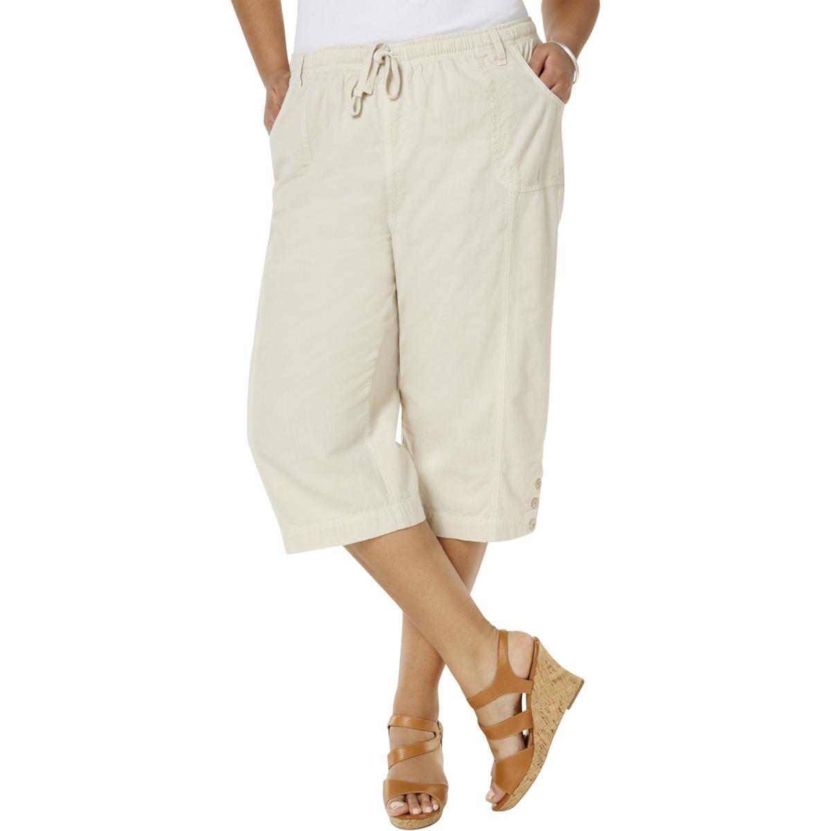 4583987727 Amazon.com: Karen Scott Womens Plus Cotton Crop Capri Pants Tan 0X: Clothing