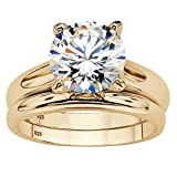 3 TCW Round Cubic Zirconia 2-Piece Solitaire Wedding Ring Set in 14k Gold over Sterling Silver Size 9