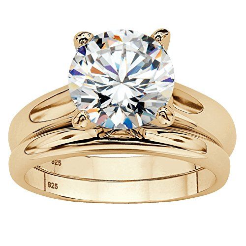 Yellow Gold Wedding Set (3 TCW Round Cubic Zirconia 2-Piece Solitaire Wedding Ring Set in 14k Gold over Sterling Silver Size 5)