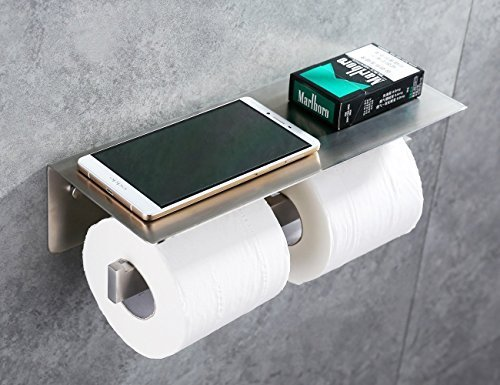 APL-8912G SUS304 Stainless Steel Toilet Double Paper Tissue Holder with Mobile Phone Storage Shelf, Brushed Nickel