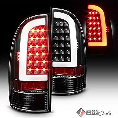 2005-2015 Tacoma Black Housing Fiber-Optic Light-Tube LED Tail Lights Pair L+R 2006 2007 2008 2009 2010 2011 2012