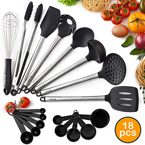 18-Piece Silicone Cooking Utensil Set - Kitchen Spatulas & Spoons for Nonstick Cookware - Heat Resistant, Non-Scratch, Dishwasher Safe Silicon Stainless Steel Tools - Measuring Cups, Whisk, Tongs Kit