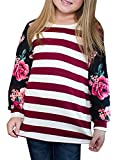 KunLunMen Girls Clothes Casual T Shirts Floral Tops Striped Long Sleeve Fall Sweatshirts