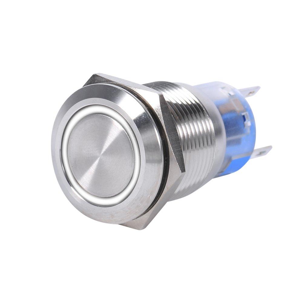 19mm 12V a prueba de agua inoxidable de bloqueo autom/ático pulsador interruptor rojo LED Green