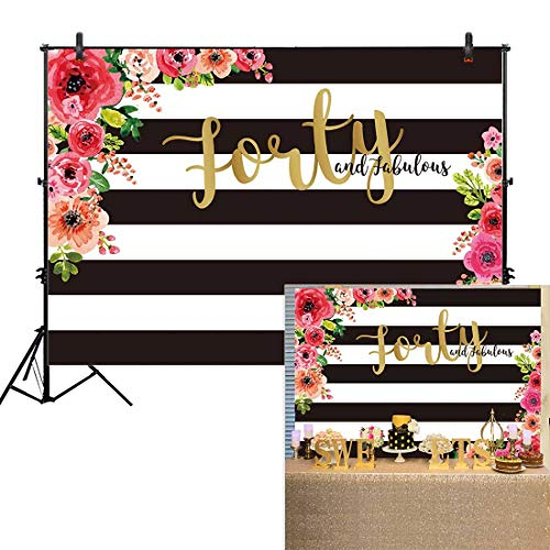 Allenjoy 7x5ft Fabulous 40th Birthday Backdrops Happy Forty Years Old Adult Women Prom Black and White Stripe Gold Glitter Pink Paper Flower Banner Party Decoration Supply Photo Booth Background