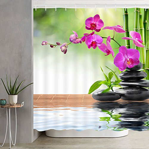 (Bathroom Shower Curtain Zen Spa Shower Curtains with Hooks, Orchid Stone Bamboo Water Design Fabric Bathroom Curtain Durable Waterproof Bath Curtain)