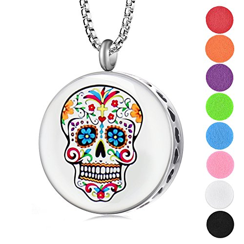 Mexican Day of The Dead Traditional Inspired Colorful Skulls Design Essential Oil Diffuser Necklace With 8 Felt Pads Gift Set for Women and Men