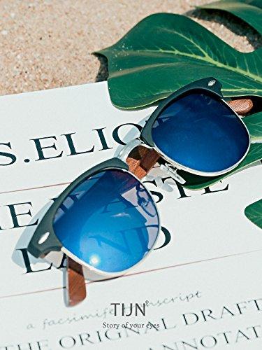TIJN de soleil Lens Homme Lunettes Black Frame Blue P6PCqr