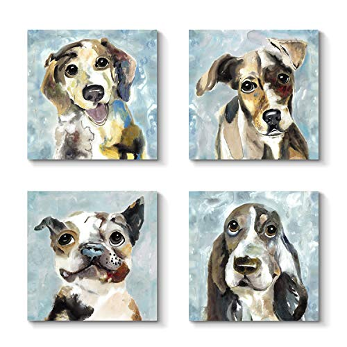 - Grander Group Pet Artwork Dog Picture Print - Pug Artwork Painting Print on Canvas for Wall Decor