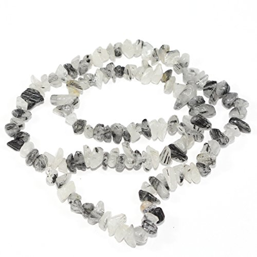 (3 Strands Natural Black Quartz Rutilated Gemstone Smooth Gem Chips 5-8mm Loose Stone Beads 34 Inch/Strand for Jewelry Craft Making GZ1-9)