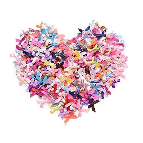 BCHZ 100pcs Mini Satin Ribbon Flowers Bows,Gift/DIY/Craft/Wedding Decoration ()