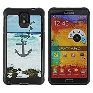 KROKK CASE Samsung Note 3 - anchor blue sea waves art beach - Rugged Armor Slim Protection Case Cover Shell