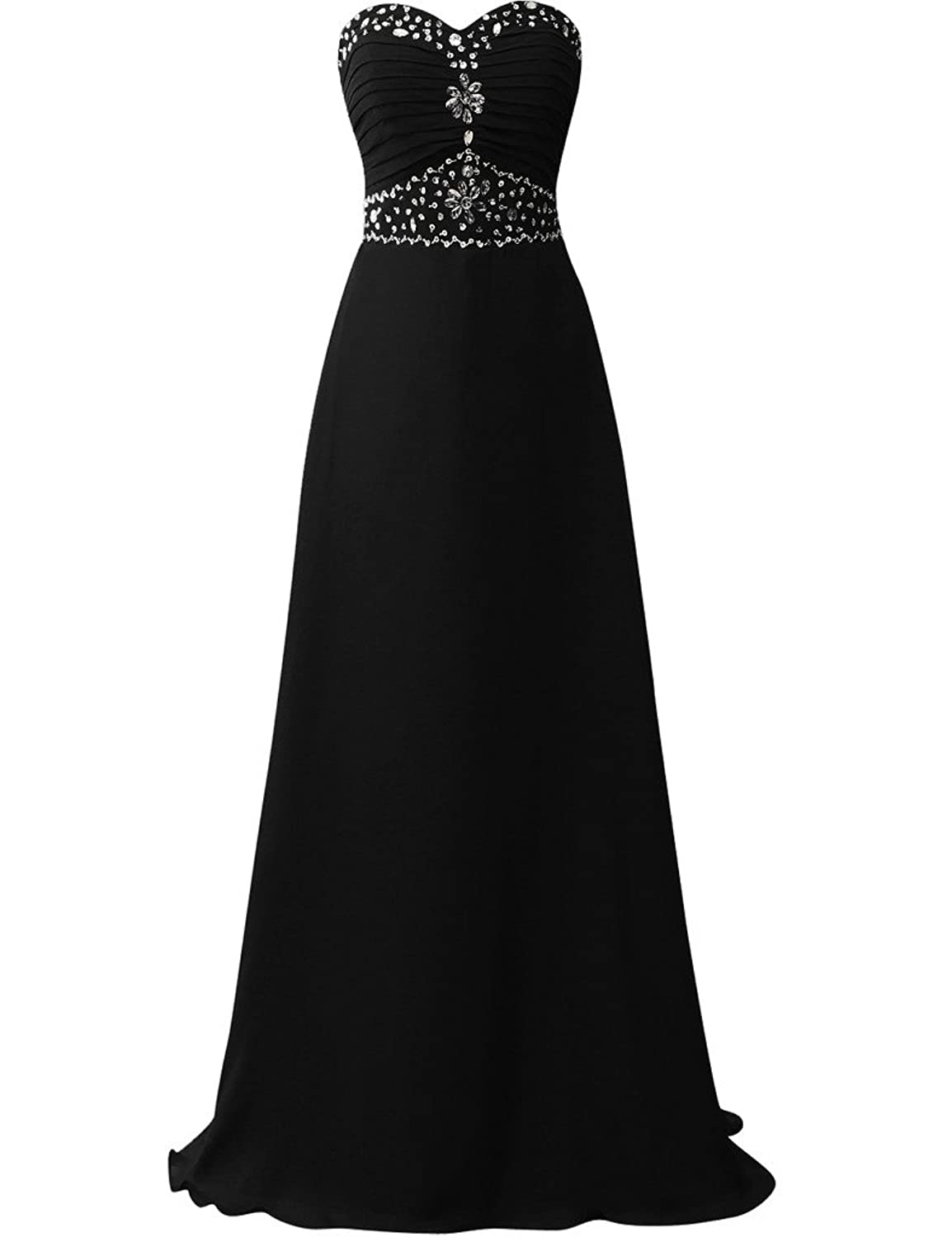 HUINI Strapless Beads Sequins Long Chiffon Prom Party Dresses Evening Formal Gowns