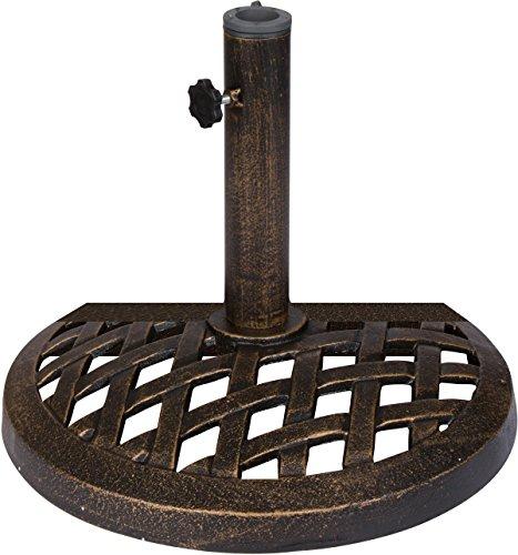 Trademark Innovations Cast Iron Half Umbrella Base - 17.7 Inch Diameter (Bronze Finish) by Trademark Innovations