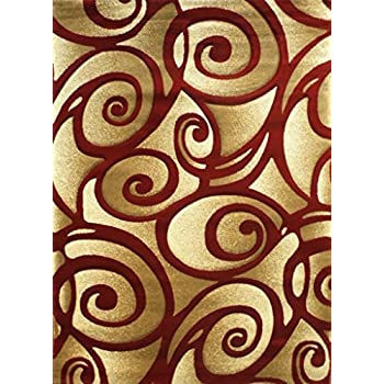 Amazon Com Modern Area Rug S 241 Red 5 Ft 2 In X 7 Ft
