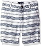 The Children's Place Big Boys' Striped Flat Front Shorts, Mellow Aqua, 5