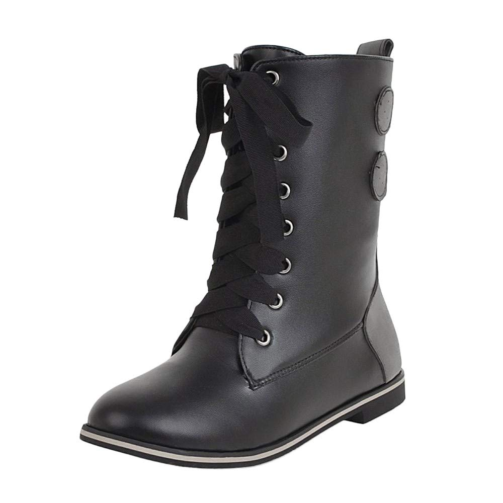 Womens Retro Middle Tube Boots Lace-up Buckle Ankle Boots Combat Martin Boots Nightclub Stage Mid Calf Flat Shoes (Black, US:10)