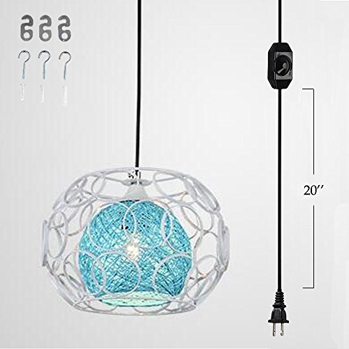 Kiven Plug-In Handmade Rattan Ball Pendant Lamp 15 Foot Black Cord with On/Off Dimmer Switch bulb not included ul listed (TB0259-A),Blue (Lamp Hanging Skull)