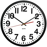 Tempus TC6236RF Contemporary Commercial Wall Clock with Frame and Quartz Movement, 13'', Black