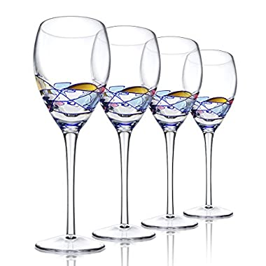 Ludan Set of 4 - Beautiful Hand Painted Crystal Wine Glasses / Barware - Cobalt Blue Swirl/Stained Glass Pattern Design - 13.5 Oz Large White Wine Glassware