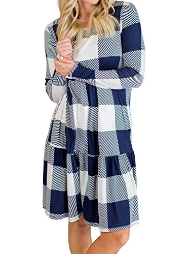 Femmes Chellysun Robe À Carreaux Chemise À Manches Longues Peplum Taille Midi Tenue Décontractée Avec Des Poches Bleu