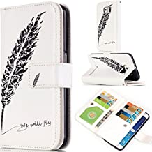 Galaxy S4 Case,Gift_Source [Multi Card Wallet] [Photo card slots] [Stand] Premium Magnetic PU Leather Wallet with Built-in 9 Card Slots Folio Flip Case For Samsung Galaxy S4 i9500 [Black Feather]