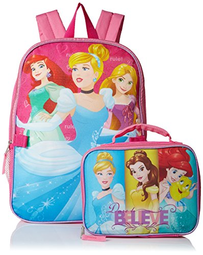 Disney Girls' Princeses Backpack Dare to Dream with Lunch Kit, Hot Pink/Pink (Official Monster High Costumes)