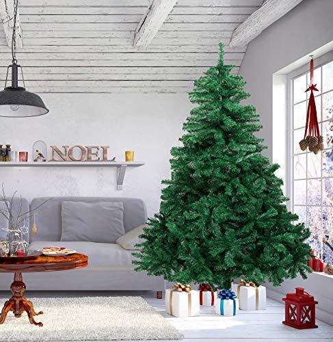 AMS Christmas Tree 5 Foot Premium Artificial Christmas Pine Tree with Metal Legs 550 Tips Full Tree hinged Support (5Ft)